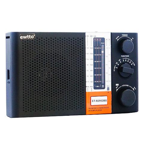 Radio recargable con panel solar Ewtto ET-R2952BS
