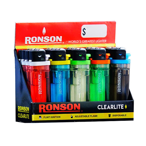Encendedor Ronson Transparente 20 unid.