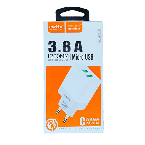 Cargador ewtto 3.8A Micro USB turbo