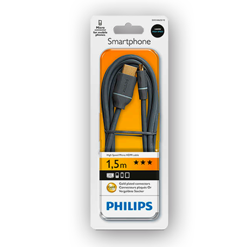 Cable Philips Hdmi a micro Hdmi 1,5 Mts