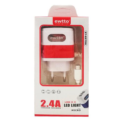 Cargador Ewtoo 2.4A 3 USB Led Light