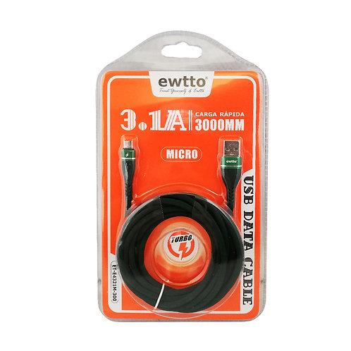 Cable micro USB 3.1 -3Mts carga rápida