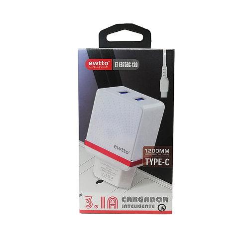 Cargador Universal Ewtto 2 Usb - 3.1A Tipo-C