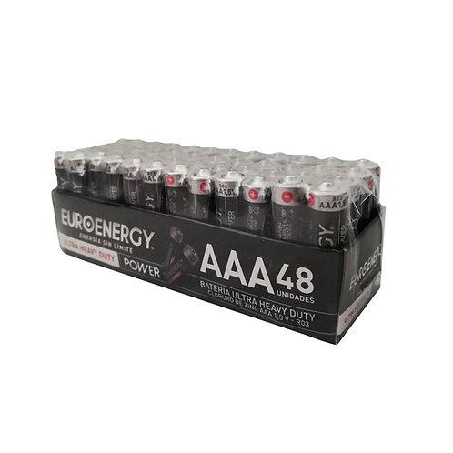 Pila de carbón Euroenergy AAA Display 48 uni.