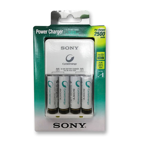 Cargador De Pilas Sony + 4 Pilas Aa De 2500 Mah