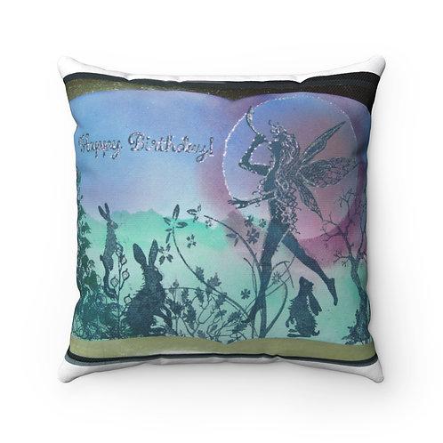 "Spun Polyester Square Pillow ""Birthday Announcement"""