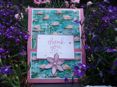 Waterlily Thank You Card Buckle Fold