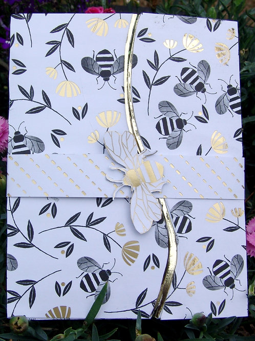 Bee-Banded lovely foiled card