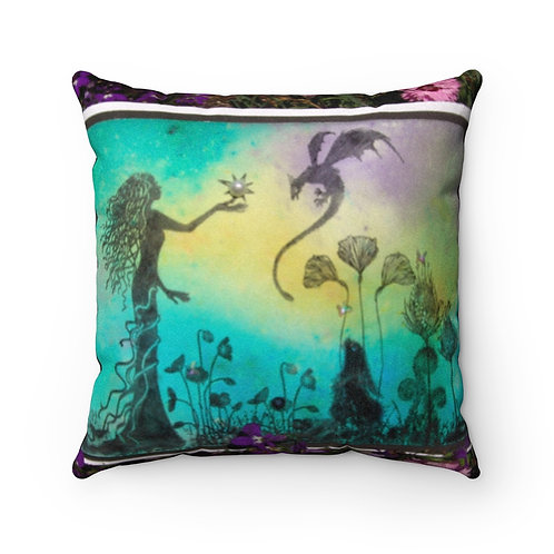 """Faux Suede Square Pillow Case """"First Pearl"""""""