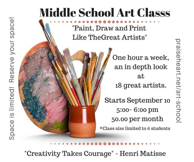 Middle school art class