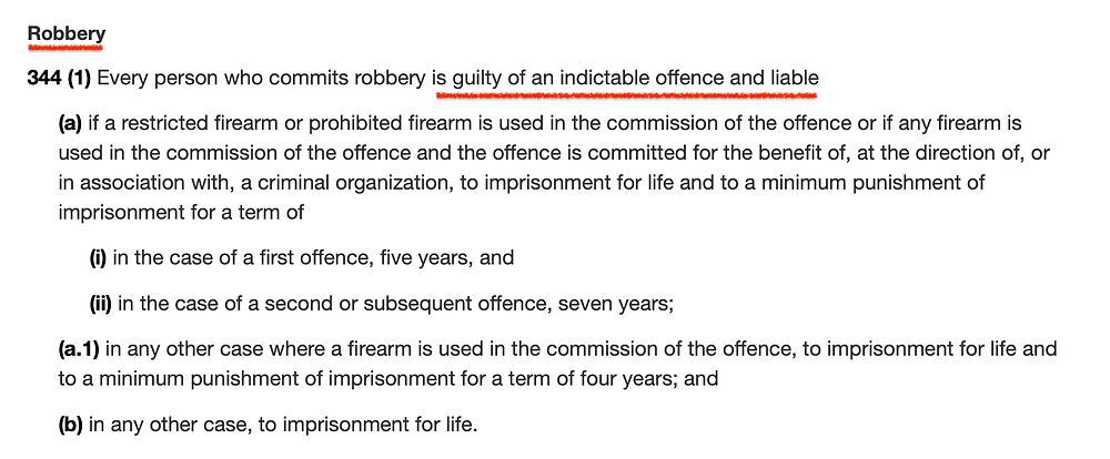 Robbery Criminal Offence Indictable