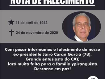 Nota de falecimento: Jairo Caran Garcia
