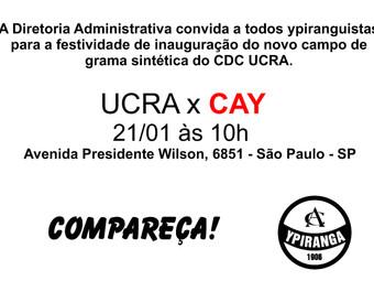 UCRA x CAY: amistoso marcará inauguração de novo gramado sintético