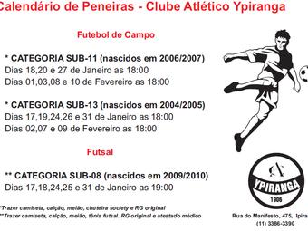Peneiras 2017: Futebol de Campo e Futsal
