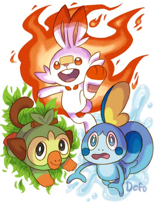 Art Print - Pokemon SWSH Starters (Artist Defo)