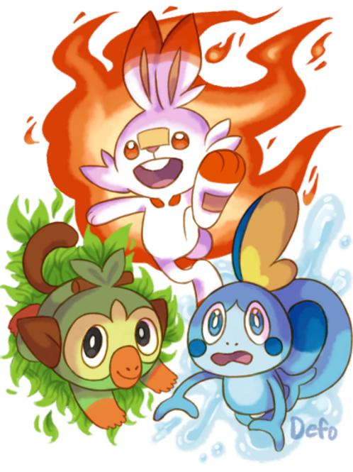 Fan Art DIGITAL DOWNLOAD - Pokemon SWSH Starters