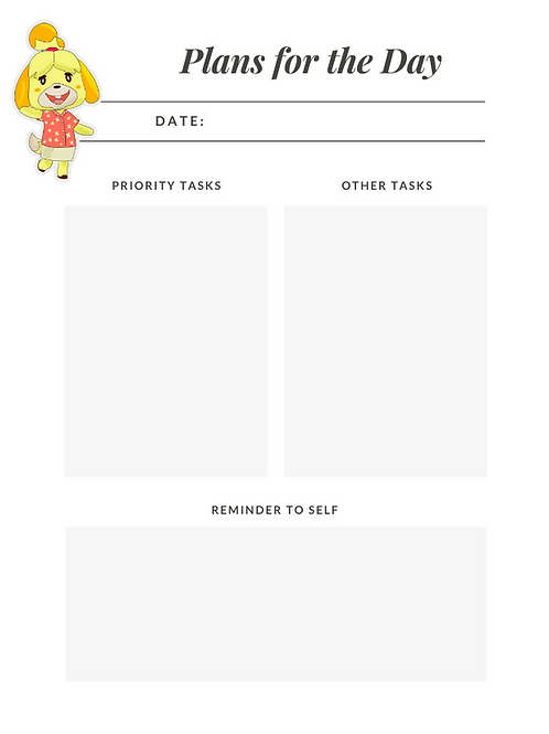 Daily Planner of Animal Crossing DIGITAL Daily Planner 4.25X5.5