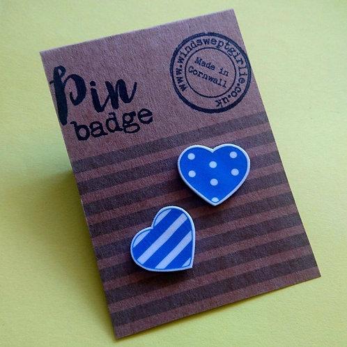 Blue Hearts pin brooches