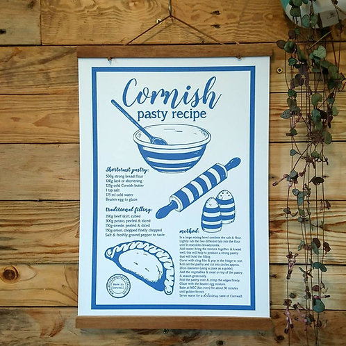 Cornish pasty recipe A4 or A3 UNFRAMED print