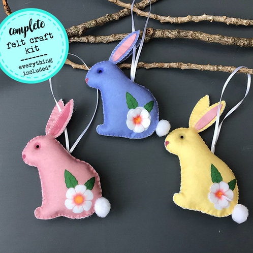 Sew your own Easter Bunny decorations, plushie sewing kit.