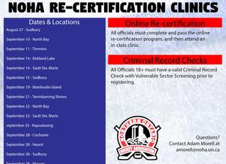 NOHA Officials Re-certification Clinics