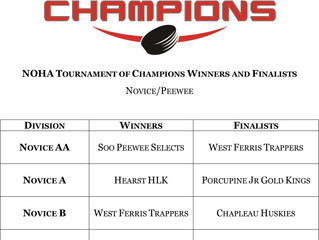 NOHA TOC Champions & Finalists - March 2-4, 2018