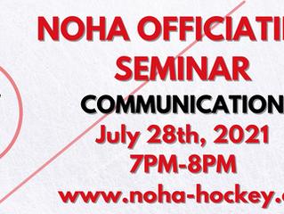 NOHA Officiating Seminar - Communications