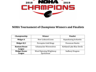 Congratulations to Midget & House League TOC Champions and Finalists!