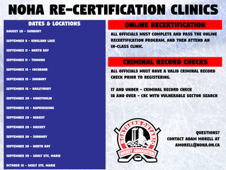 NOHA Officials Re-certification Clinics