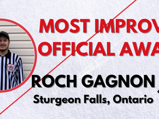 Most Improved Official Award - Roch Gagnon, Sturgeon Falls