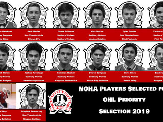 14 NOHA Players Selected in OHL Priority Selection