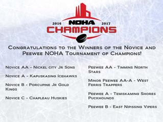 Congratulations Novice and Peewee TOC Winners!