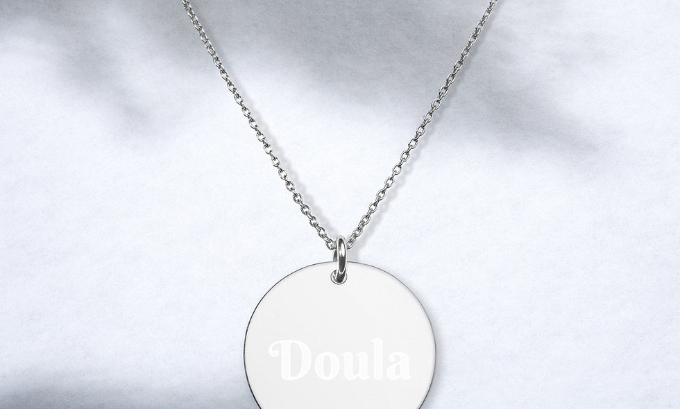 """""""Doula"""" Engraved Disc Necklace"""