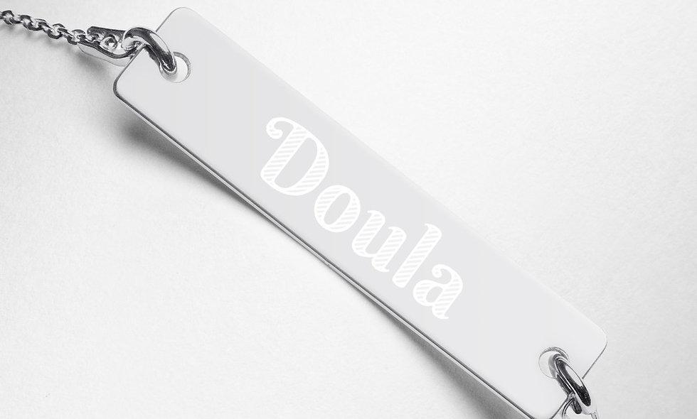 """Doula"" Engraved Bar Chain Bracelet"