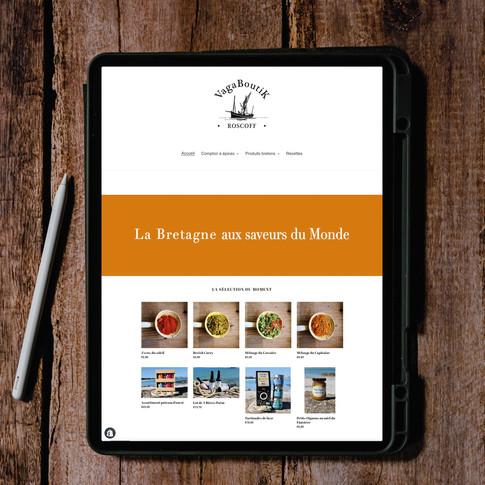 Réalisation site e-commerce de l'épicerie fine de Vagaboutik Roscoff - Photos produits Roskocom