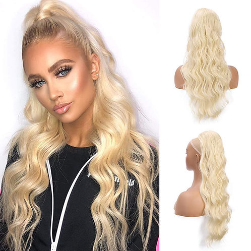 Long Wavy 24'' BLONDE Synthetic Drawstring Ponytail