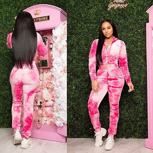 """PRETTY PINK"" TYE DYE VELOUR TRACK SUIT"