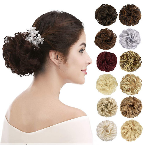 Thick 2PCS Updo Messy Hair Bun CurlY Ponytail Extensions  Hair Scrunchies