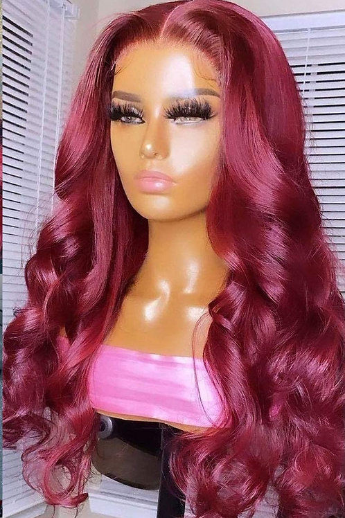 BURGUNDY RED  HUMAN HAIR LACE FRONT WIG