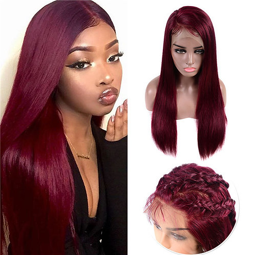 "24"" BURGUNDY RED  HUMAN HAIR LACE FRONT WIG"