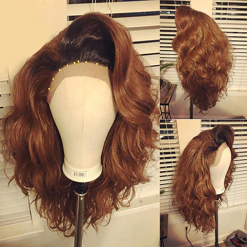 """16"""" Dark Root (Color #30) Honey Brown Synthetic Lace Front Wig"""
