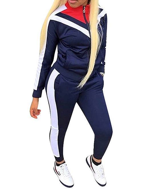 NAVY / WHITE/ RED ZIP UP SWEAT SUIT