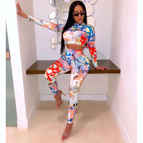Club Wear Two Piece Pants and Top