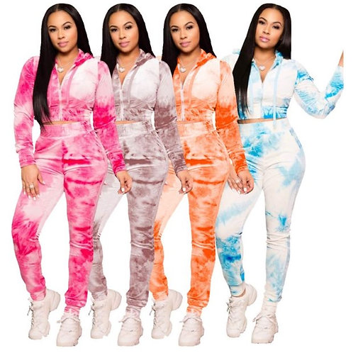 TWO-PIECE VELOUR TYE DYE TRACKSUIT