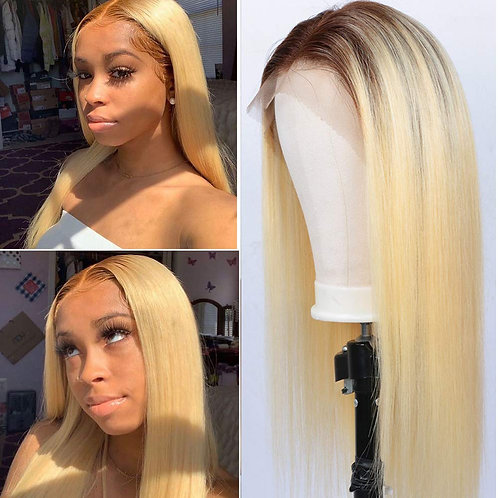 LONG STRAIGHT OMBRE BLONDE LACE WIG