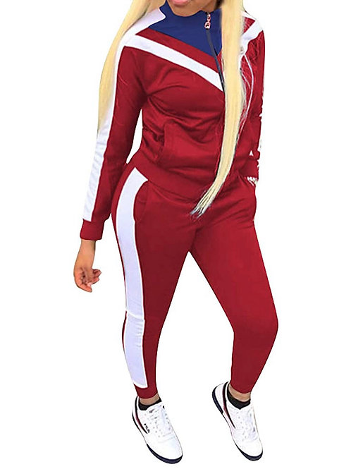 RED /WHITE/ BLUE ZIP UP SWEAT SUIT