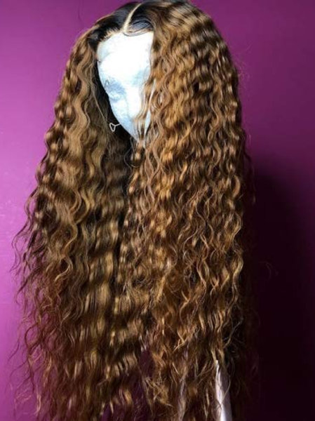 BROWN WET N WAVY LACE FRONT WIG