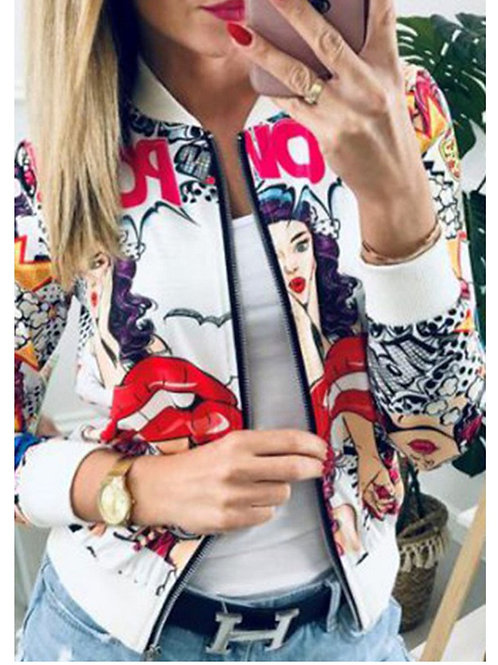 CUTE LIPS PRINT RED AND WHITE ZIP UP JACKET