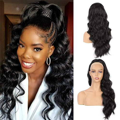 Long Wavy 24' BLACK Synthetic Drawstring Ponytail
