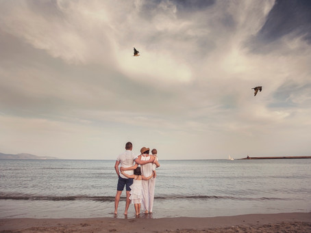 family portrait at the sea